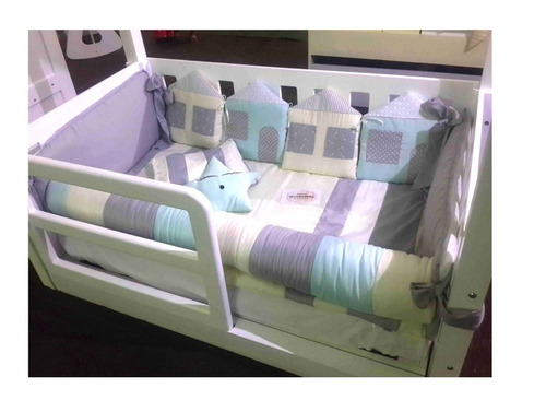 set  cuna acolchado + chichonera modelo casitas bebe