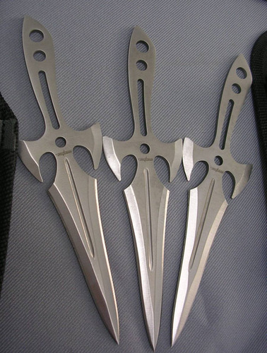 set d 3 cuchillas de lanzamiento fulltang c/filo a013 flr