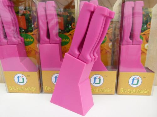 set d 6 cuchillos tipo tramontina acero taco antideslizante