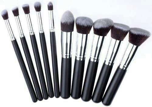 63b7380c9c692 Set De 10 Brochas Kabuki Maquillaje Profesional Envío Gratis ...