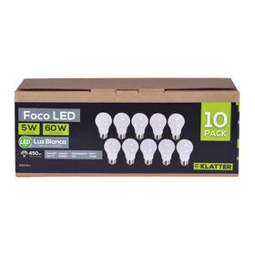 Set De 10 Focos Led- Klatter, 5w A19 6500k E27 Luz Blanca