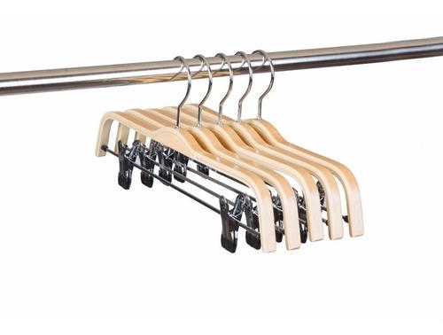 set de 10 ganchos ropa madera antioxidante pinzas ajustables