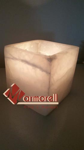 set de 10 luminarias portavela, cubo de piedra onix natural