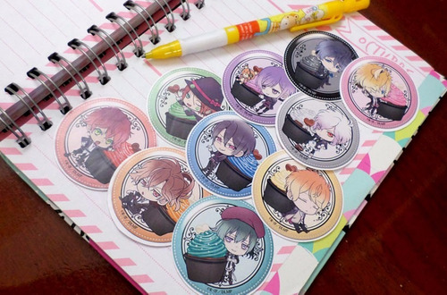 set de 10 stickers circulares de anime - diabolik lovers