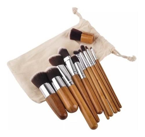 set de 11 brochas maquillaje ojos cara+ estuche+envió gratis