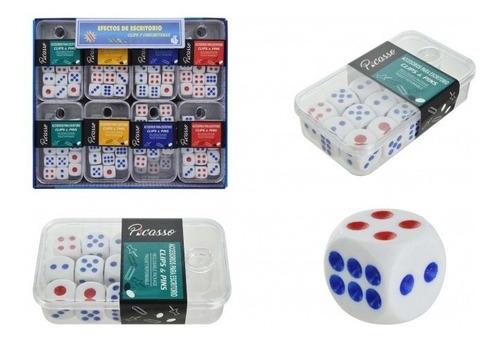 set de 12 dados en caja de acrílico - juegos y juguetes