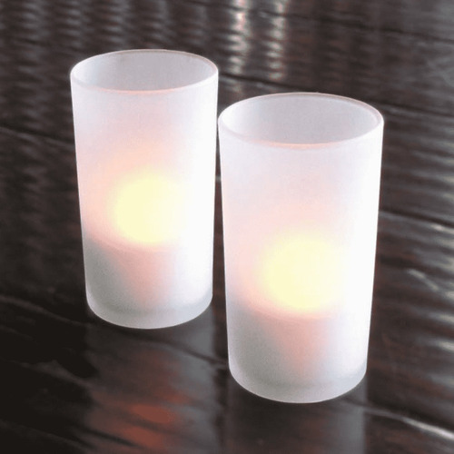 set de 12 porta velas hokaré modelo frosted glass
