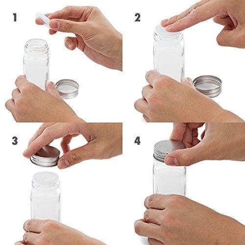 set de 14 frascos de especias de vidrio cuadrado con tapas d