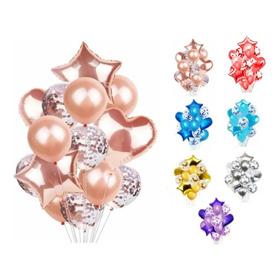 Set De 14 Globos Metalizados Estrella Corazon Confetti