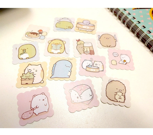 set de 14 stickers kawaii sumiko gurashi scrapbook bullet
