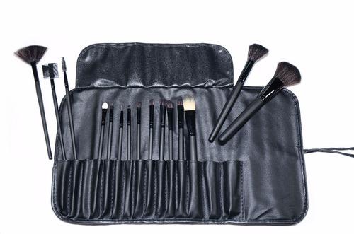 set de 15 brochas maquillaje profesional con estuche