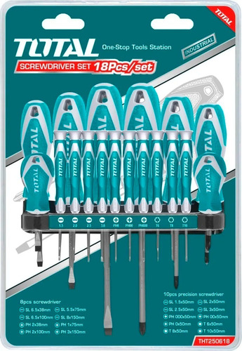 set de 18 destornilladores industrial total punta iman - sti