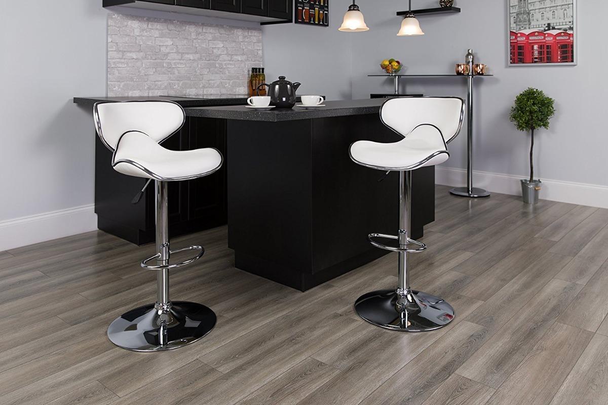 Bancos de cocina modernos cocina blanca y gris de estilo - Bancos para cocina ...