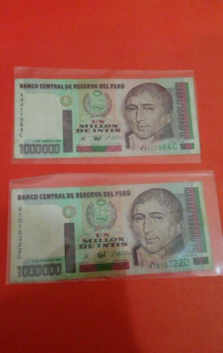 set de 2 billetes  de un millon de intis