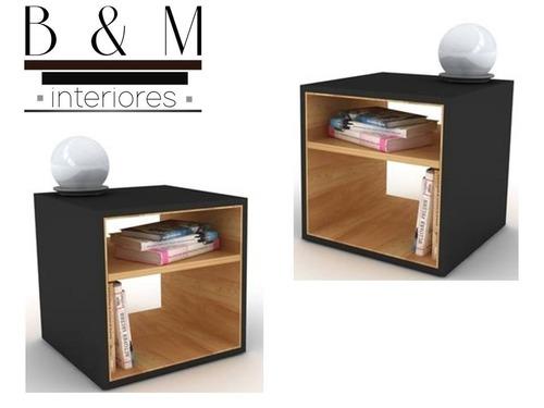 Set de 2 buros minimalistas recamaras modernos cahobilla for Buros de cama modernos