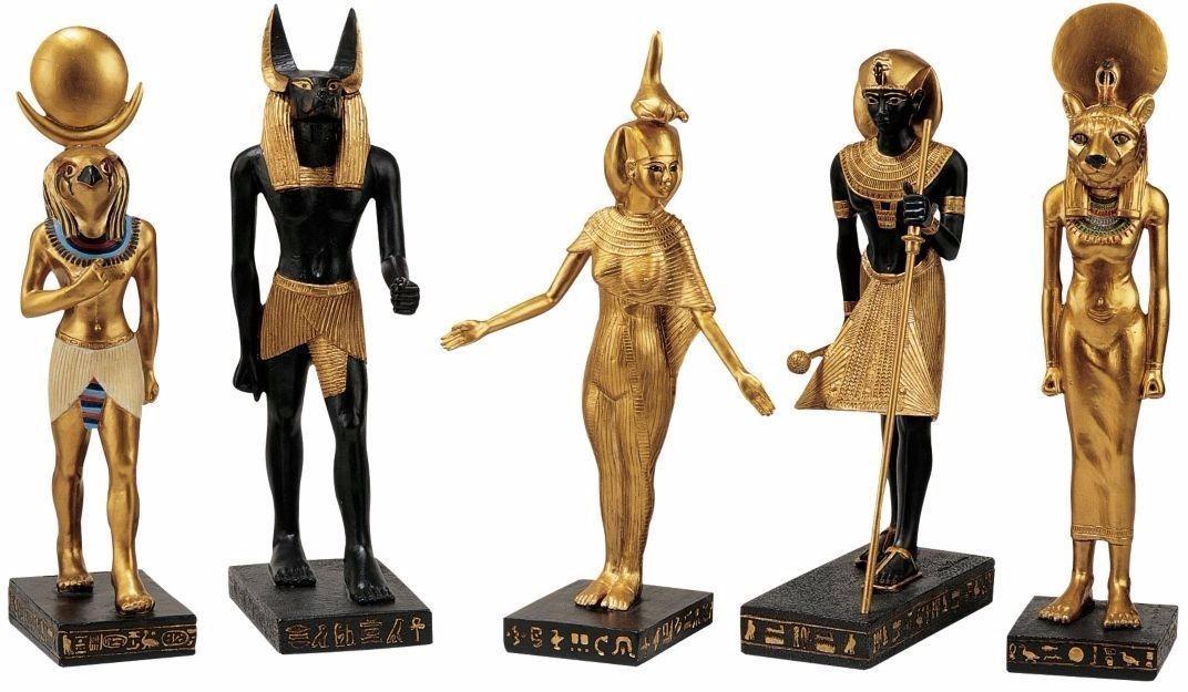 Set De 2 Colecciones 5 Dioses Egipcios Figuras Resina 22cm