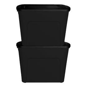 Set De 2 Contenedores Eco Box 80 Lts Negro Hogar Decoracion Organizadores Garden Life