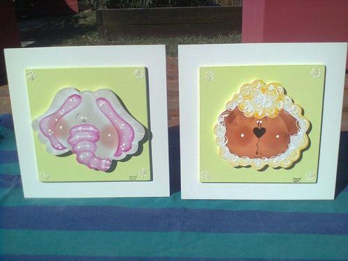 set de 2 cuadros en relieve infantiles