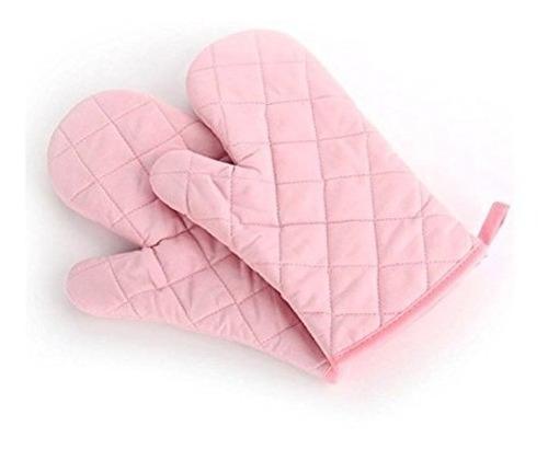 set de 2 guantes rosas de tela para cocina.