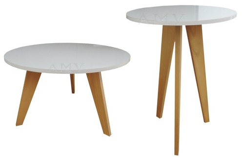 set de 2 mesas de living nordico escandinavo laqueado ratona