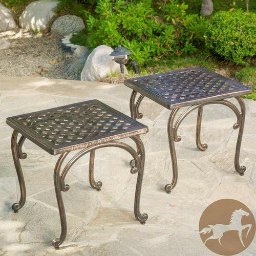 set de 2 mesas laterales para exterior richie shiny coper