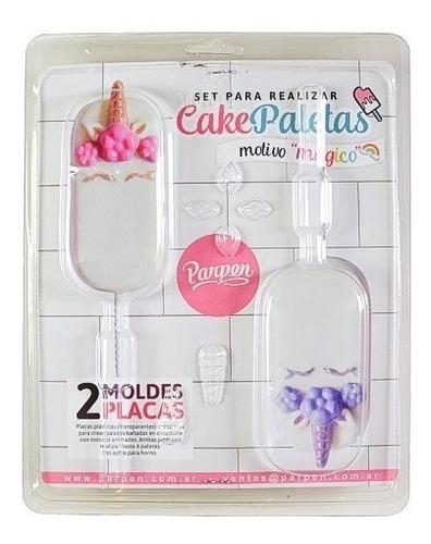 set de 2 moldes cakepaletas mágico parpen