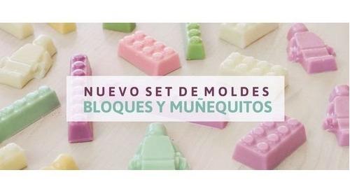 set de 2 moldes placas bloques y lego parpen