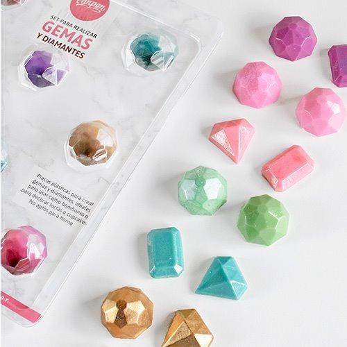 set de 2 moldes placas bombones gemas y diamantes parpen