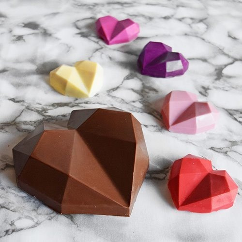 set de 2 moldes placas corazones diamantes parpen