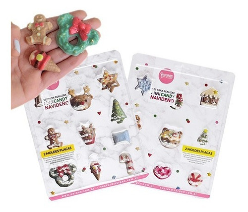 set de 2 moldes placas mini candy navideño parpen
