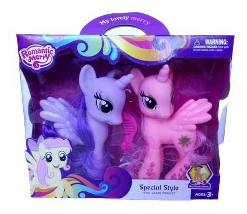set de 2 my little pony muñeca juguete niña pony bebe 14 cm
