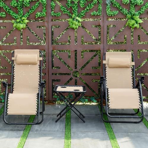set de 2 sillas camastros con mesa p/jardín alberca playa cf