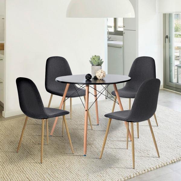Set De 2 Sillas De Comedor Diseño Moderno Charlton Tela Neg