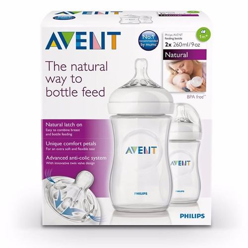 set de 2 teteros biberon bebes avent natural 9 oz - 260 ml