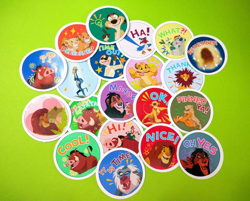 set de 20 stickers circulares de el rey leon simba nala timo