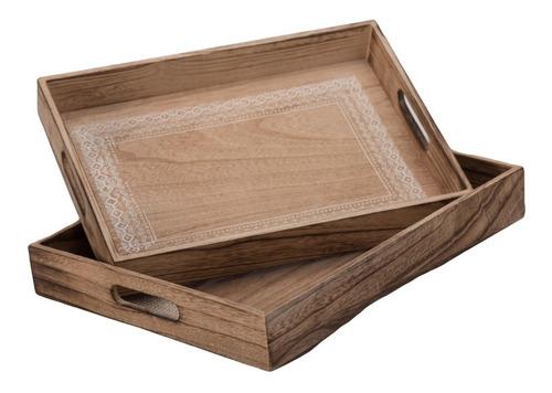 set de 2charolas de madera boho