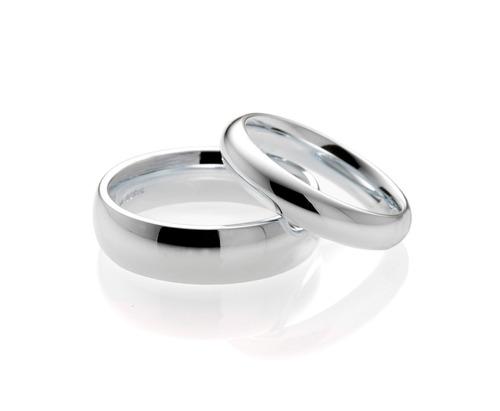 set de 3 anillos de matrimonio de plata & platino