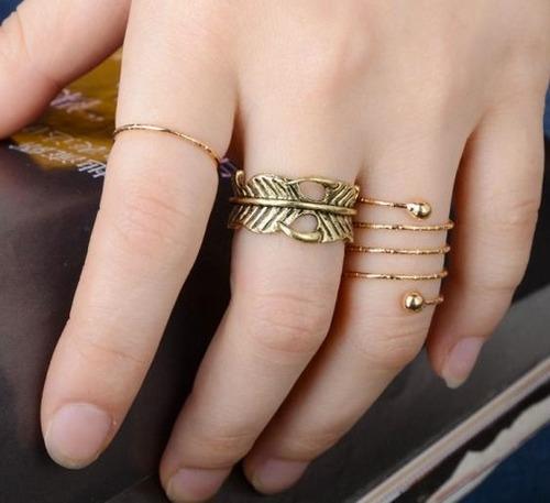 set de 3 anillos midi ring moda preferida accesorio mujer dt