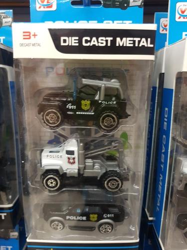 set de 3 carritos hotwheel policia truck