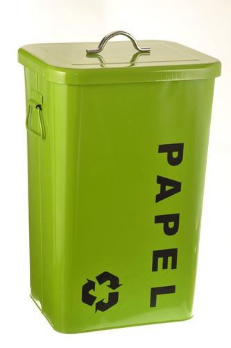 set de 3 cestos con tapa 26 lts reciclaje