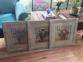Set De 3 Cuadros Decorativos De Flores En Tonos Pastel