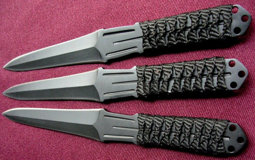 set de 3 cuchillas de lanzamiento acero 440 c/filo y funda