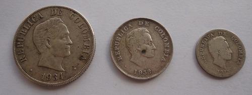 set de 3 monedas de plata