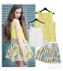 set de 3 piezas blusitas y falda mariposas moda japonesa