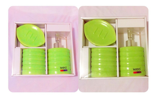 set de 3 piezas organizadoras de baño en cerámica verde