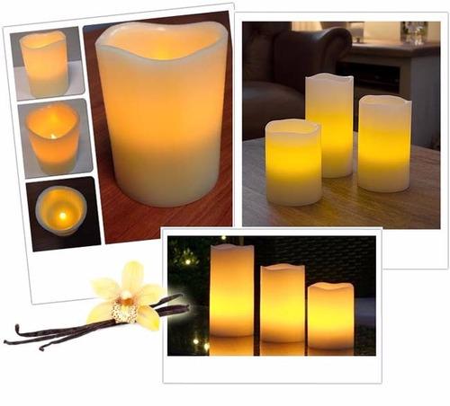 set de 3 velas decorativas led aroma vainilla control re 952