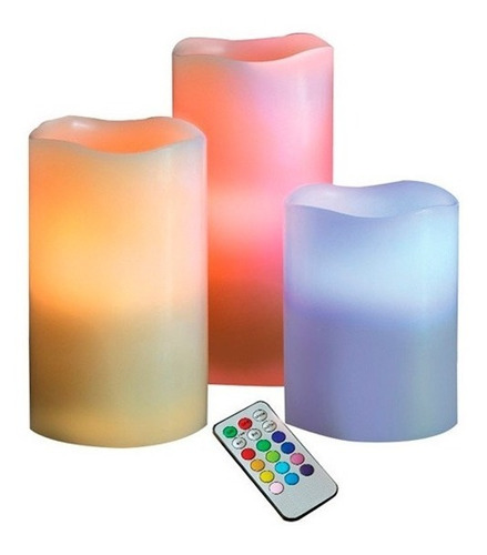 set de 3 velas led con control remoto / electronicaroca