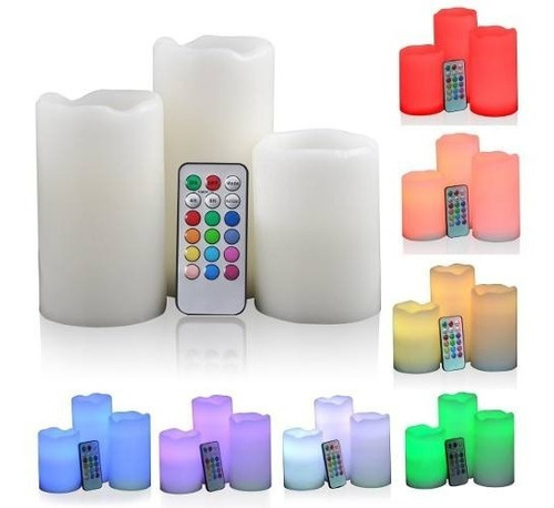 set de 3 velas led con control remoto electronicas
