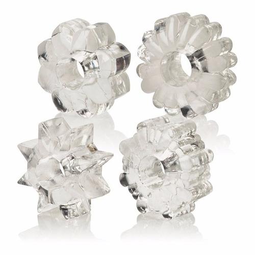 set de 4 anillos reutilizables con diferente textura retarda