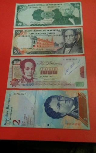 set de 4  billetes extrangeros